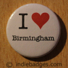 I Love Heart Birmingham Button Badge