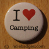 I Love Heart Camping Button Badge