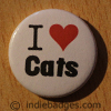I Love Heart Cats Button Badge
