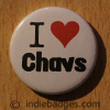 I Love Heart Chavs Button Badge