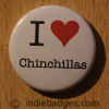 I Love Heart Chinchillas Button Badge