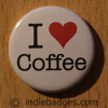 I Love Heart Coffee Button Badge