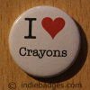 I Love Heart Crayons Button Badge