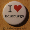 I Love Heart Edinburgh Button Badge