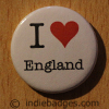 I Love Heart England Button Badge