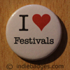 I Love Heart Festivals Button Badge