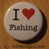 I Love Heart Fishing Button Badge