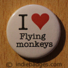 I Love Heart Flying Monkeys Button Badge