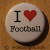 I Love Heart Football Button Badge