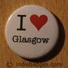 I Love Heart Glasgow Button Badge
