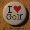 I Love Heart Golf Button Badge