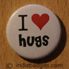 I Love Heart Hugs Button Badge