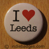 I Love Heart Leeds Button Badge
