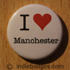 I Love Heart Manchester Button Badge