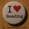 I Love Heart Reading Button Badge