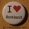 I Love Heart Scotland Button Badge