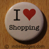 I Love Heart Shopping Button Badge