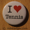 I Love Heart Tennis Button Badge