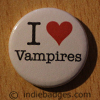 I Love Heart Vampires Button Badge