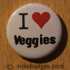 I Love Heart Veggies Button Badge