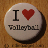 I Love Heart Volleyball Button Badge