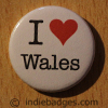 I Love Heart Wales Button Badge