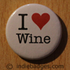 I Love Heart Wine Button Badge