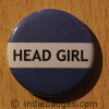 Blue Head Girl Button Badge