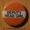 Orange Deputy Head Girl Button Badge