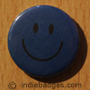 Blue Traditional Smiley Face Button Badge