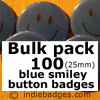 Bulk Pack 100 Blue Traditional Smiley Face Button Badges