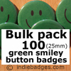 Bulk Pack 100 Green Traditional Smiley Face Button Badges