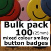 Bulk Pack 100 Mixed Colour Traditional Smiley Face Button Badges