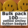 Bulk Pack 100 Yellow Traditional Smiley Face Button Badges