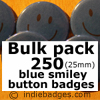 Bulk Pack 250 Blue Traditional Smiley Face Button Badges