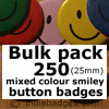 Bulk Pack 250 Mixed Colour Traditional Smiley Face Button Badges