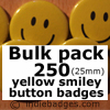 Bulk Pack 250 Yellow Traditional Smiley Face Button Badges