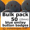 Bulk Pack 50 Blue Traditional Smiley Face Button Badges