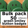 Bulk Pack 50 Green Traditional Smiley Face Button Badges
