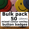 Bulk Pack 50 Mixed Colour Traditional Smiley Face Button Badges