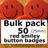 Bulk Pack 50 Red Traditional Smiley Face Button Badges