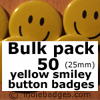 Bulk Pack 50 Yellow Traditional Smiley Face Button Badges