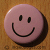 Pink Lilac Traditional Smiley Face Button Badge