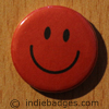 Red Traditional Smiley Face Button Badge