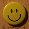 Yellow Traditional Smiley Face Button Badge